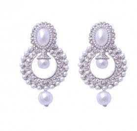White Earnings For S Danglers Stud Earrings Online