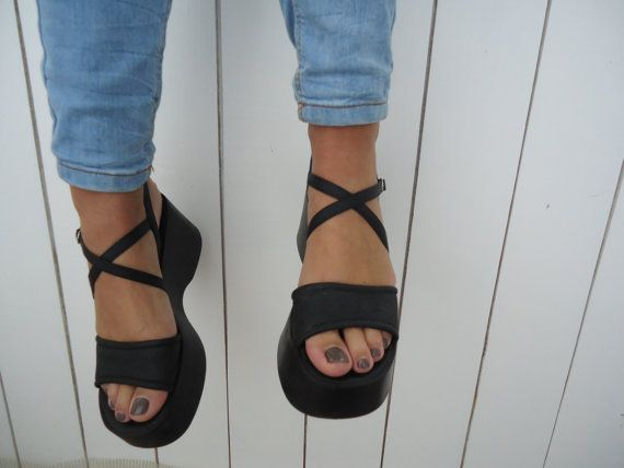 3a4ca0406d Vintage 90's Platform Shoes Chunky Black Sandals Size 7.5 on Etsy, Sold