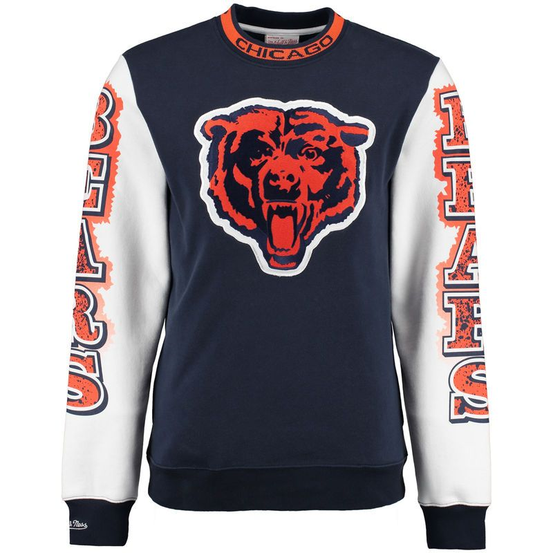 313c1f9599cb5 Chicago Bears Mitchell   Ness Excessive Celebration Crew Sweater - Navy