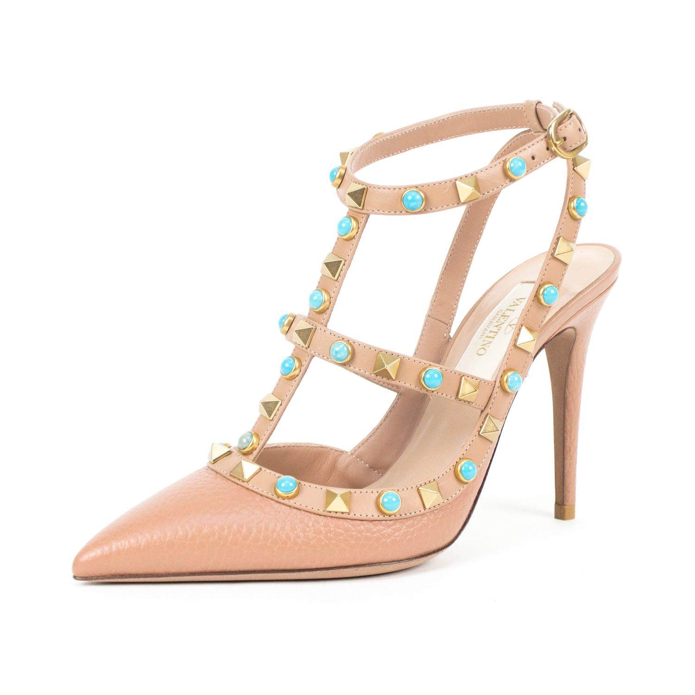 70f916c5c9 Valentino // Rockstud Rolling Turquoise Stone Heels // Beige Valentino  Clemente Ludovico Garavani (