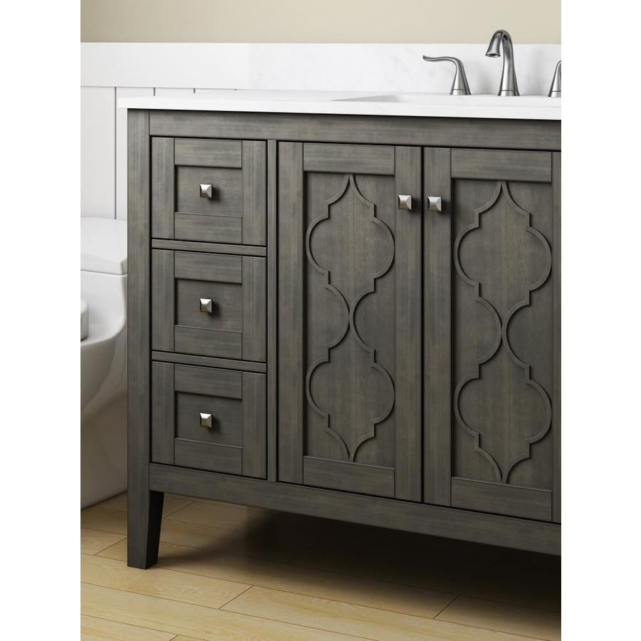 Allen Roth Everdene 48 In Grey Single Sink Bathroom Vanity With Carrera White Engineered Stone Top Lowes Com Single Sink Bathroom Vanity Bathroom Vanity Bathroom Vanity Tops