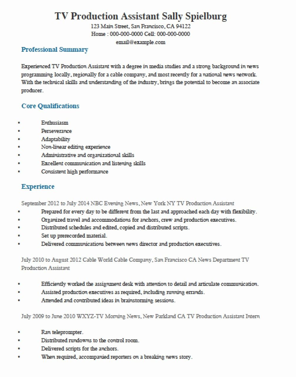 Luxury Free Television Tv Production Assistant Resume Template Resume Examples Resume Guide Job Description Template