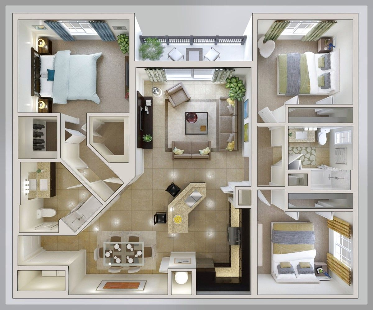 bedroom layout ideas, small 3 bedroom house plan home properti