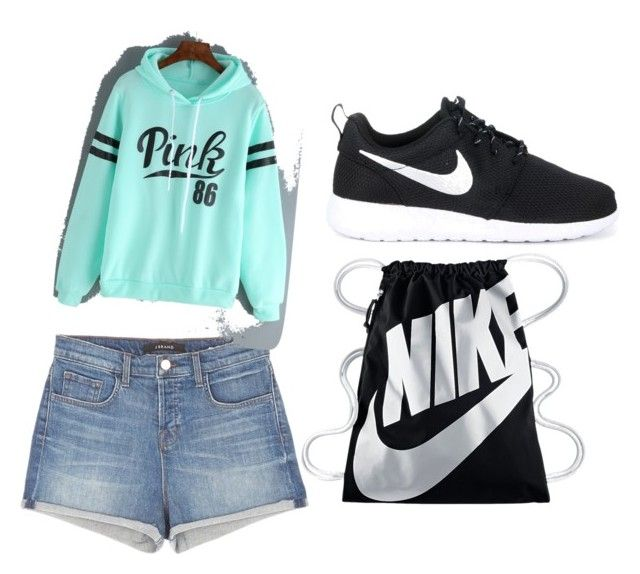 """Sorry I'm late"" by channiegyrl on Polyvore featuring J Brand and NIKE"