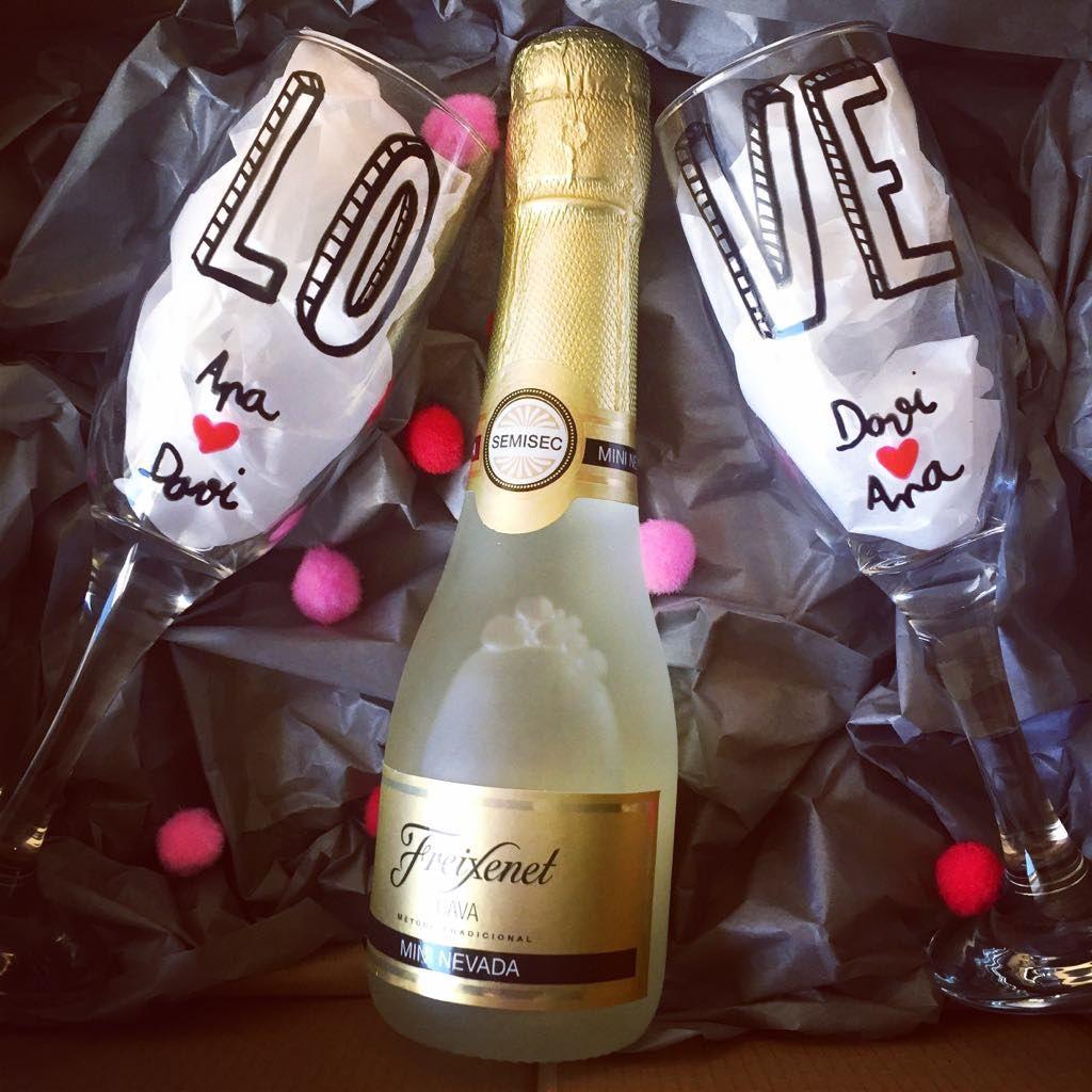 Caja Decorada Con Copas De Champagne Cava Personalizadas Regalo  # Champagne Muebles Uy
