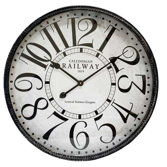 Black Round Metal Railway Wall Clock Nastenne Hodiny Hodiny Vzory