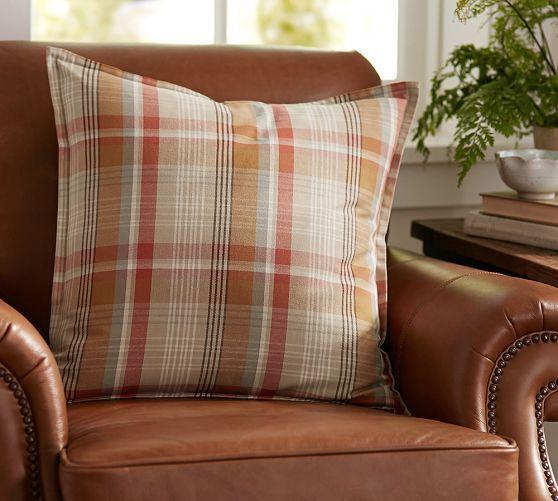 Pumpkin Plaid Pillow Covers Pillows Pillow Covers