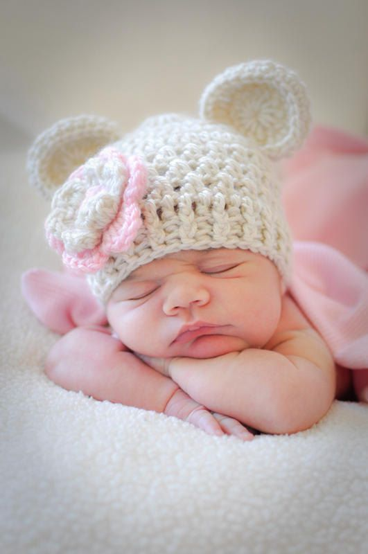 Crochet Baby Hats Crochet Baby Beanie Hat with Ears, Oatmeal and Light Pink, 0...