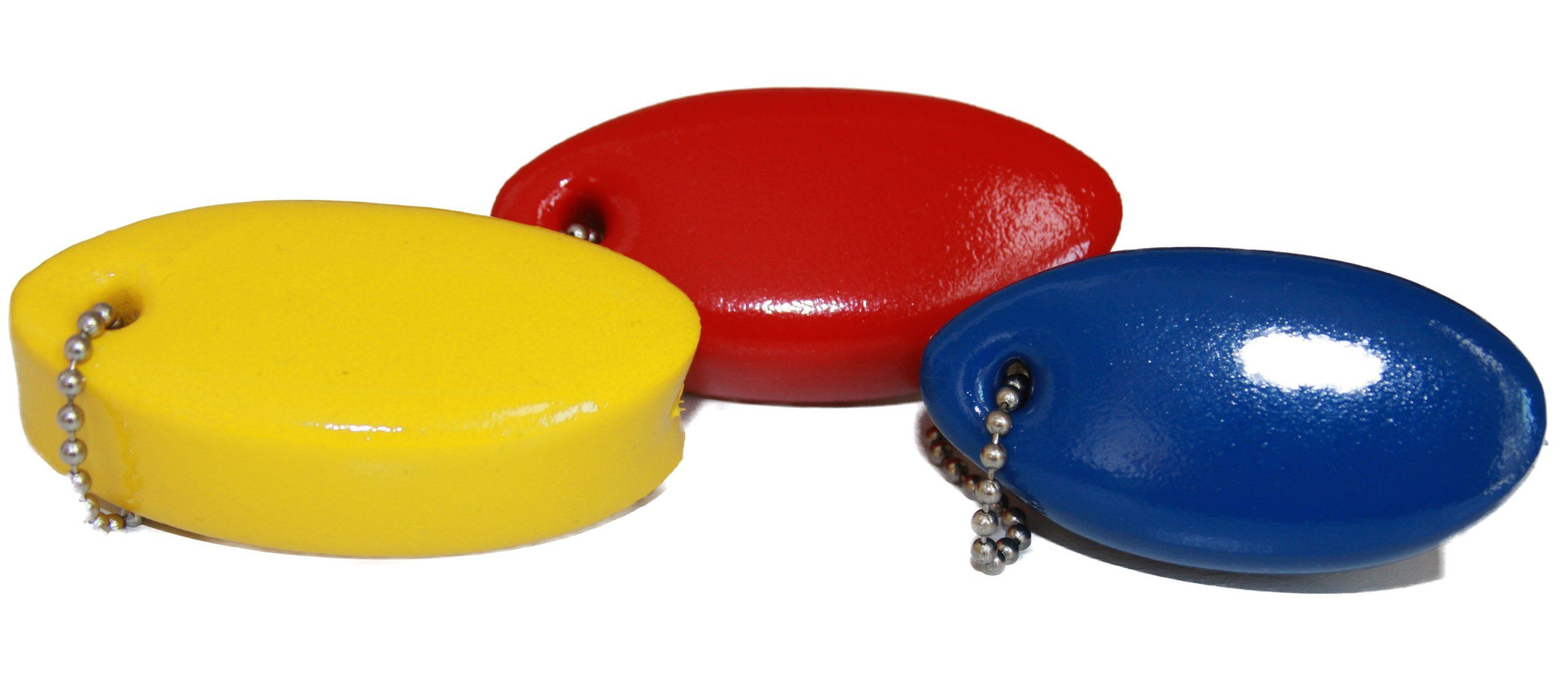 """Set of 3 Foam Floating Key Chains 3.25"""" (Blue, Red, Yellow"""