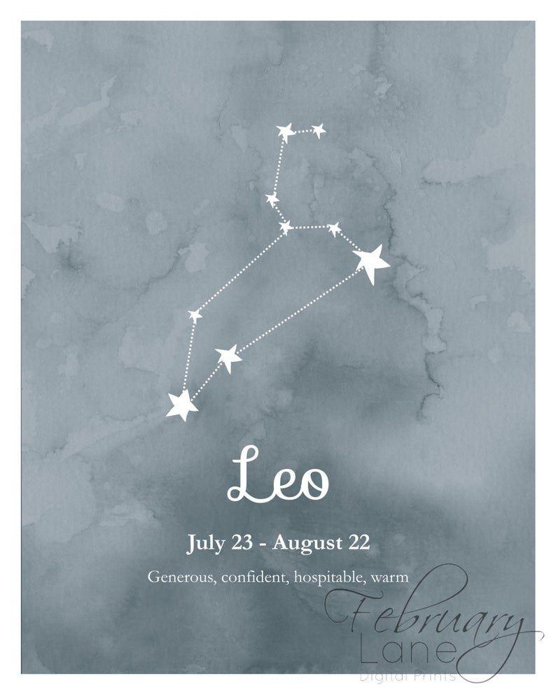 Photo of Leo Zodiac Konstellation Wandkunst druckbare 8 x 10 – Instant Download Geburtstag Horoskop Astrologie Sterne Aquarell Poster Home Decor Raum
