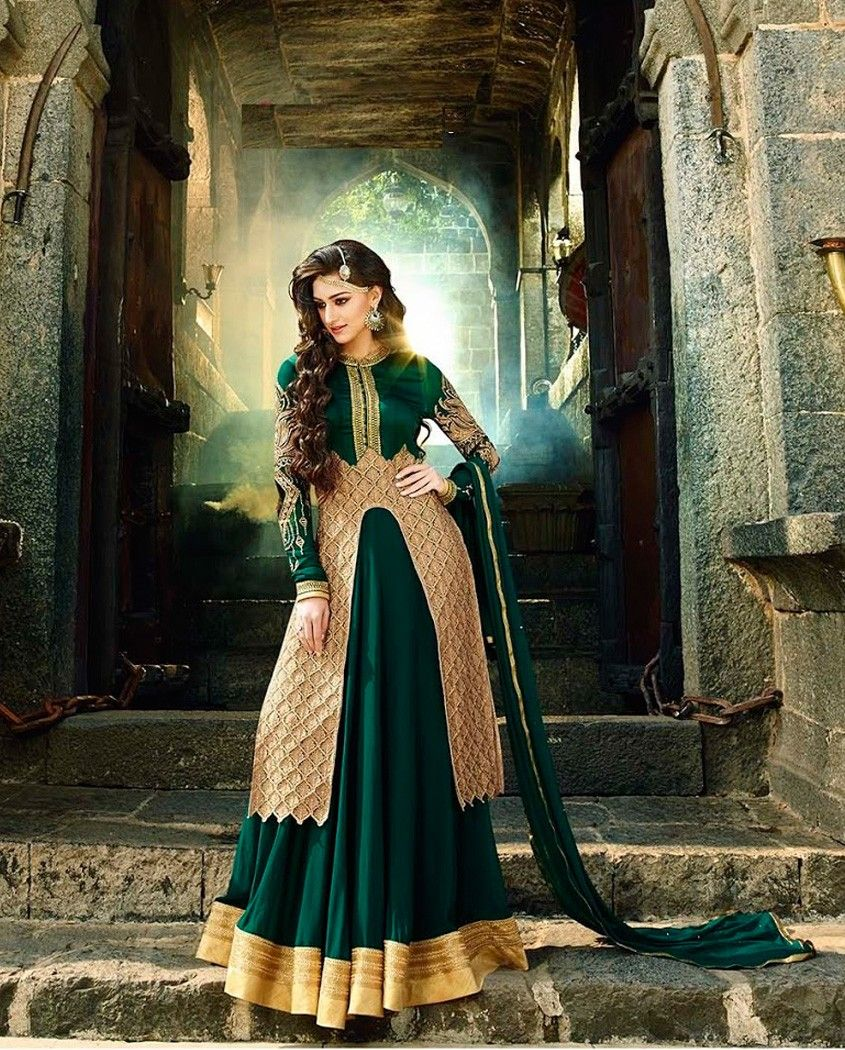 Dark green floor length anarkali suit with golden border   1. Dark green poly georgette anarkali suit2. Comes with matching bottom and dupatta3. Can be stitched upto size 42 inches