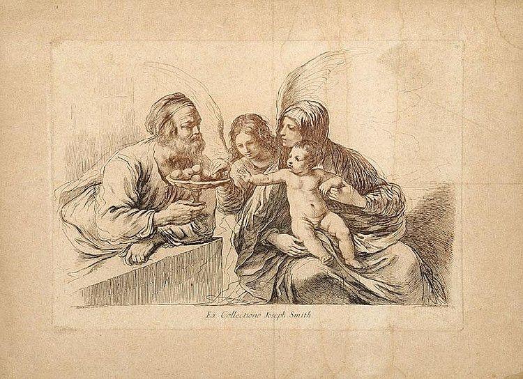 'Sacra famiglia' - Francesco Bartolozzi (Firenze 1727 - Lisbona 1815) - Incisione dal Guercino (ex collection Joseph Smith)