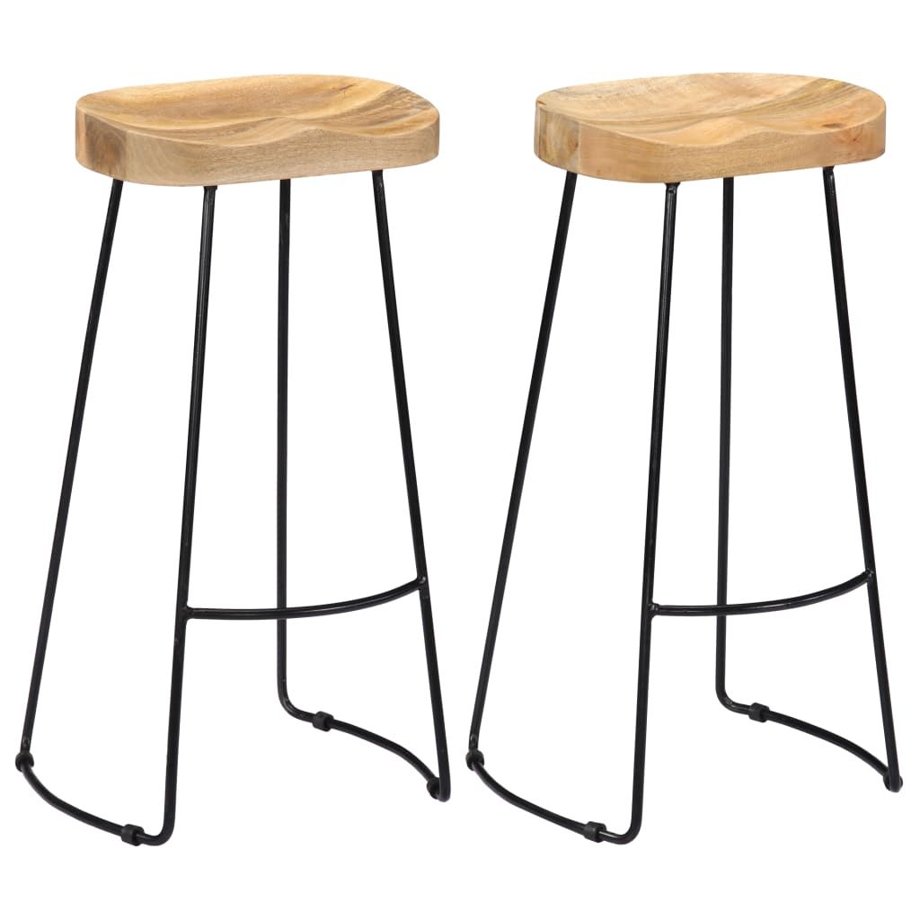 vidaXL 2x Solid Mango Wood Gavin Bar Stools Bistro Chairs Set Multi Sizes - 17.7 x 15.7 x 30.7