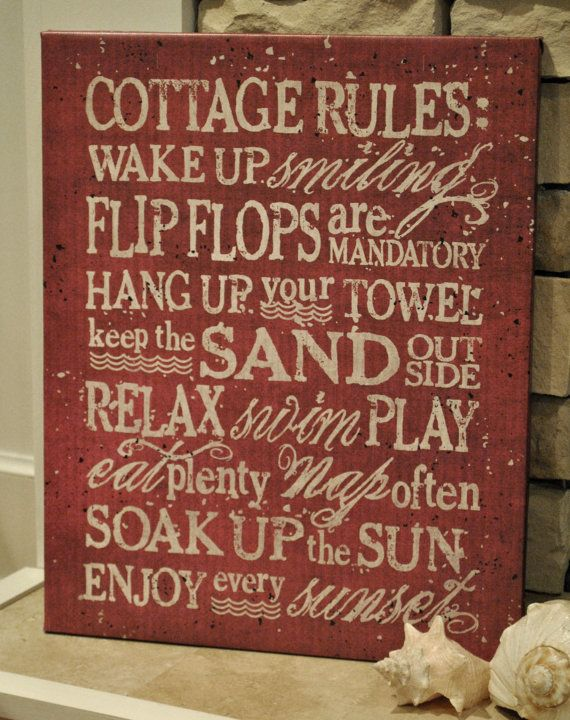 Decorate your beach home with this cherry red distressed Cottage Rules Canvas Print! Order today from Graphically Speaking Design Studio!