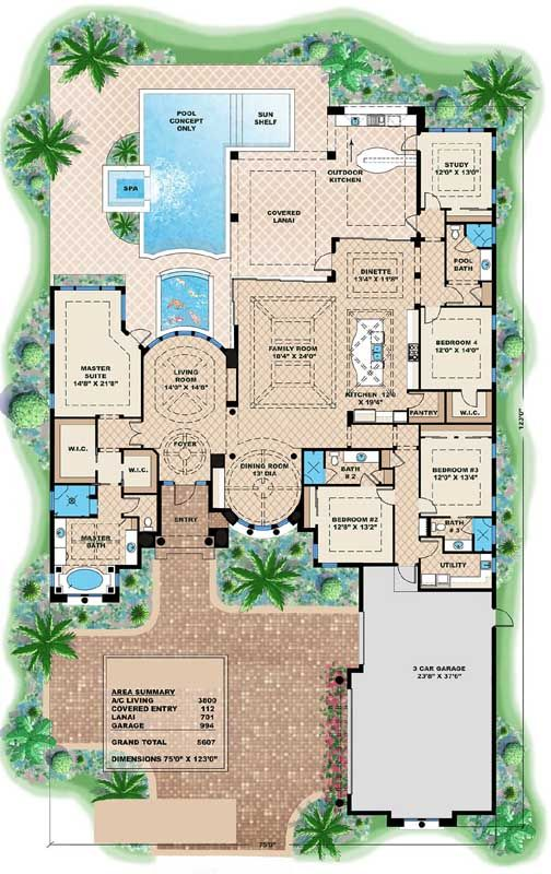 Luxury Style House Plans 3800 Square Foot Home 1 Story 4 Bedroom And 4 3 Bath Mediterranean Style House Plans Mediterranean House Plans Luxury House Plans