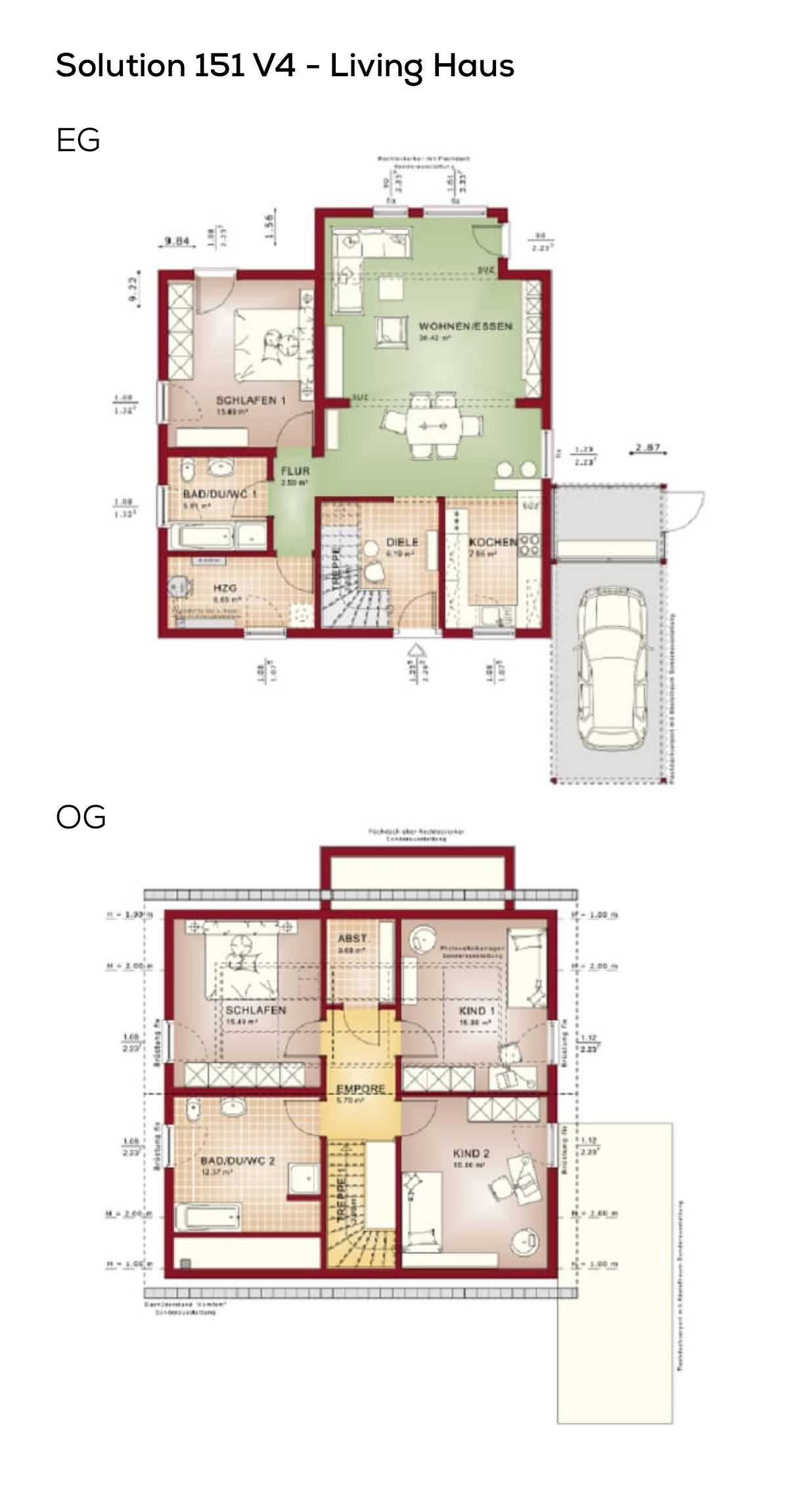 Grundriss Einfamilienhaus mit Satteldach 5 Zimmer, 150