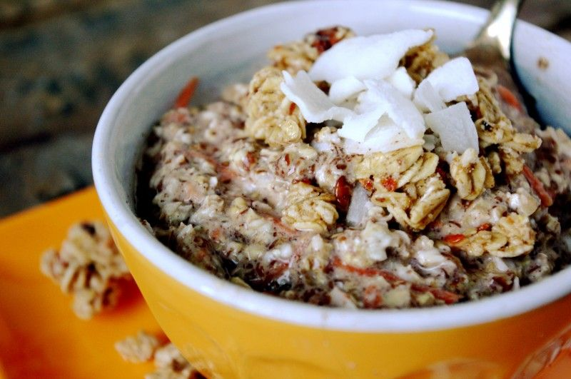 Carrot Cake Overnight Oats   Print  Ingredients      ⅓ cup rolled oats     1 tablespoon ground flaxseed     ¼ tsp ground cinnamon     ⅛ tsp ...