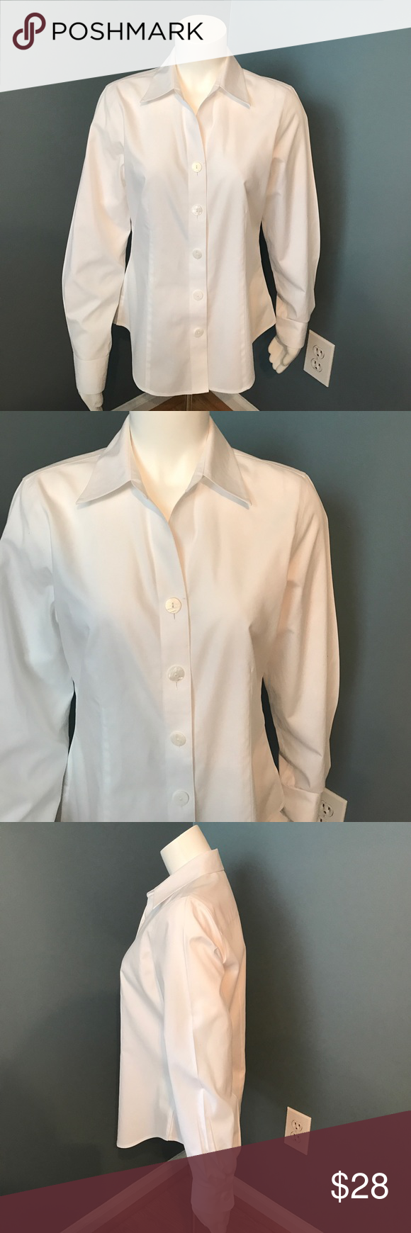 Coldwater Creek no iron white button down blouse Size small 6-8. Large buttons. Long sleeve collar blouse Coldwater Creek Tops Button Down Shirts