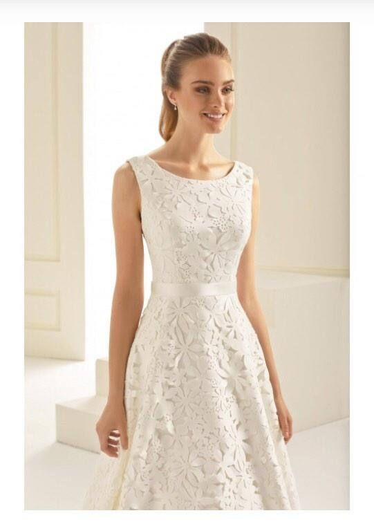 T-length dress with all over lace detail