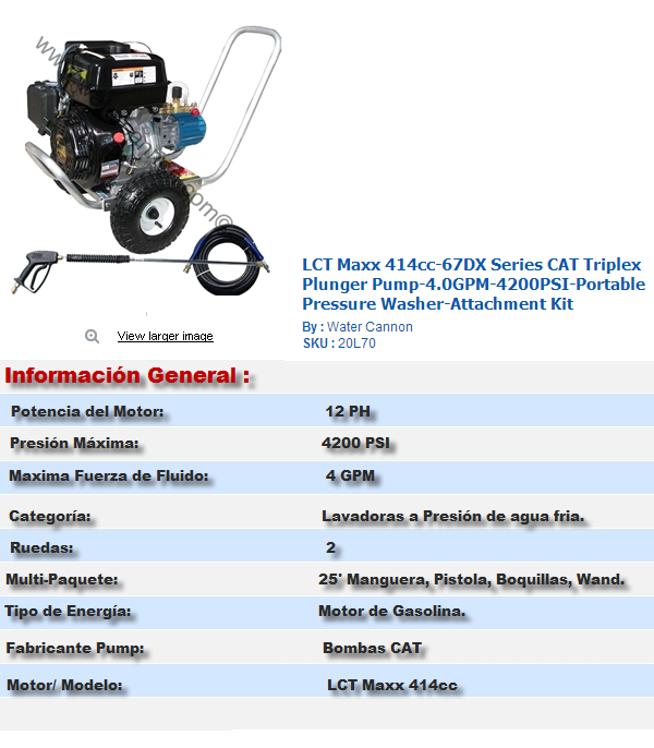 LCT Maxx 414cc67DX Series CAT Triplex Plunger Pump4.0GPM