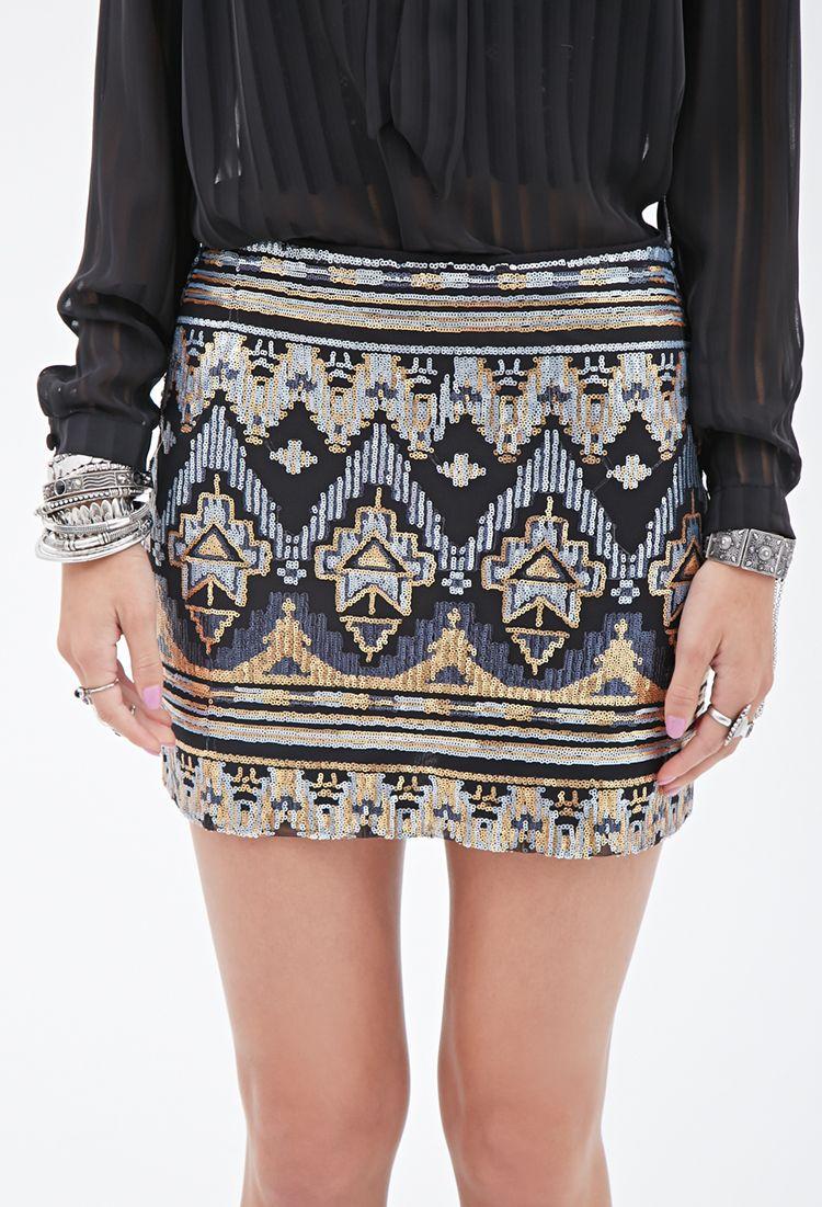 Tribal-Inspired Sequin Skirt   FOREVER21 - 2000082813