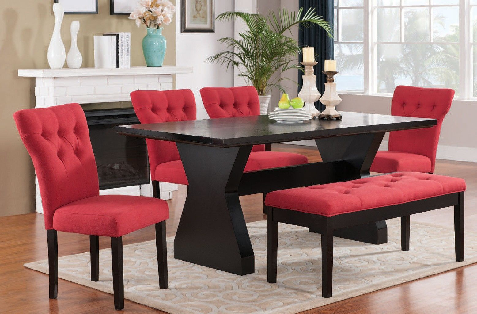 Red Dining Room Chairs Effie Dining Room Set W Red Chairs Ngmfbpn
