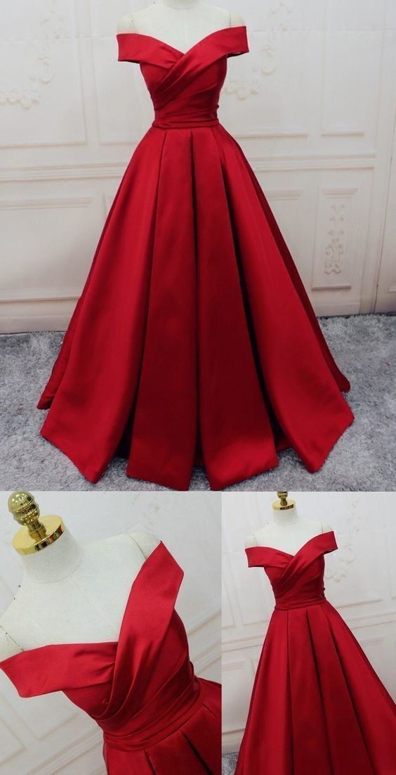 Evening Dresses, A-line/Princess Prom Dresses, Long Party Dresses, Off-the-shoulder red Long satin party dress G644