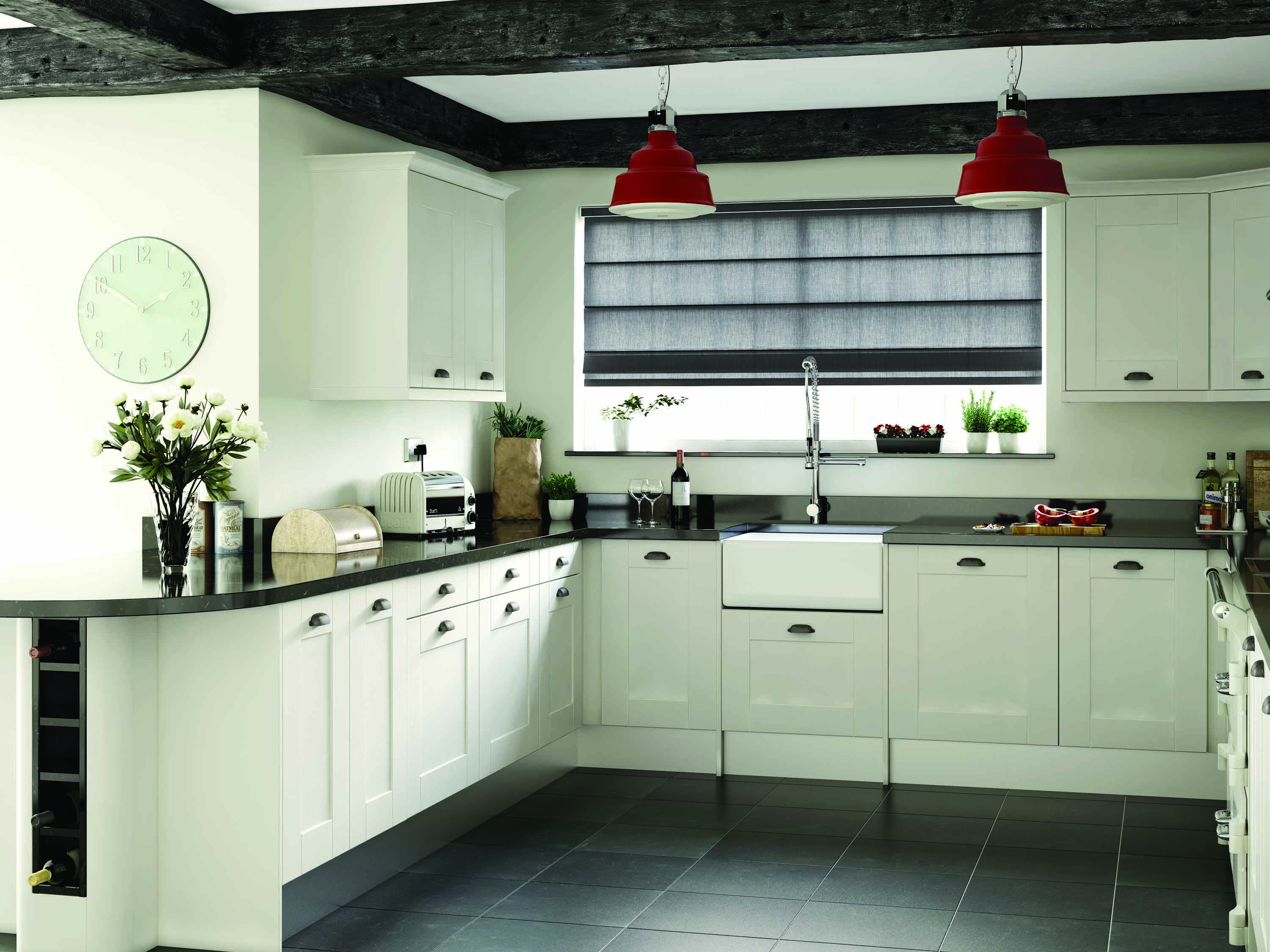 These kitchen blinds are made to measure using any fabric or design