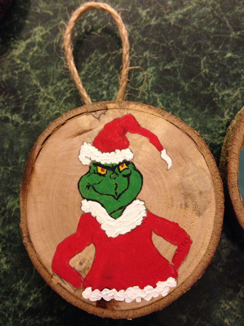 Grinch Wood Slice Ornament Grinch Christmas Decorations Wooden Christmas Ornaments Christmas Ornaments