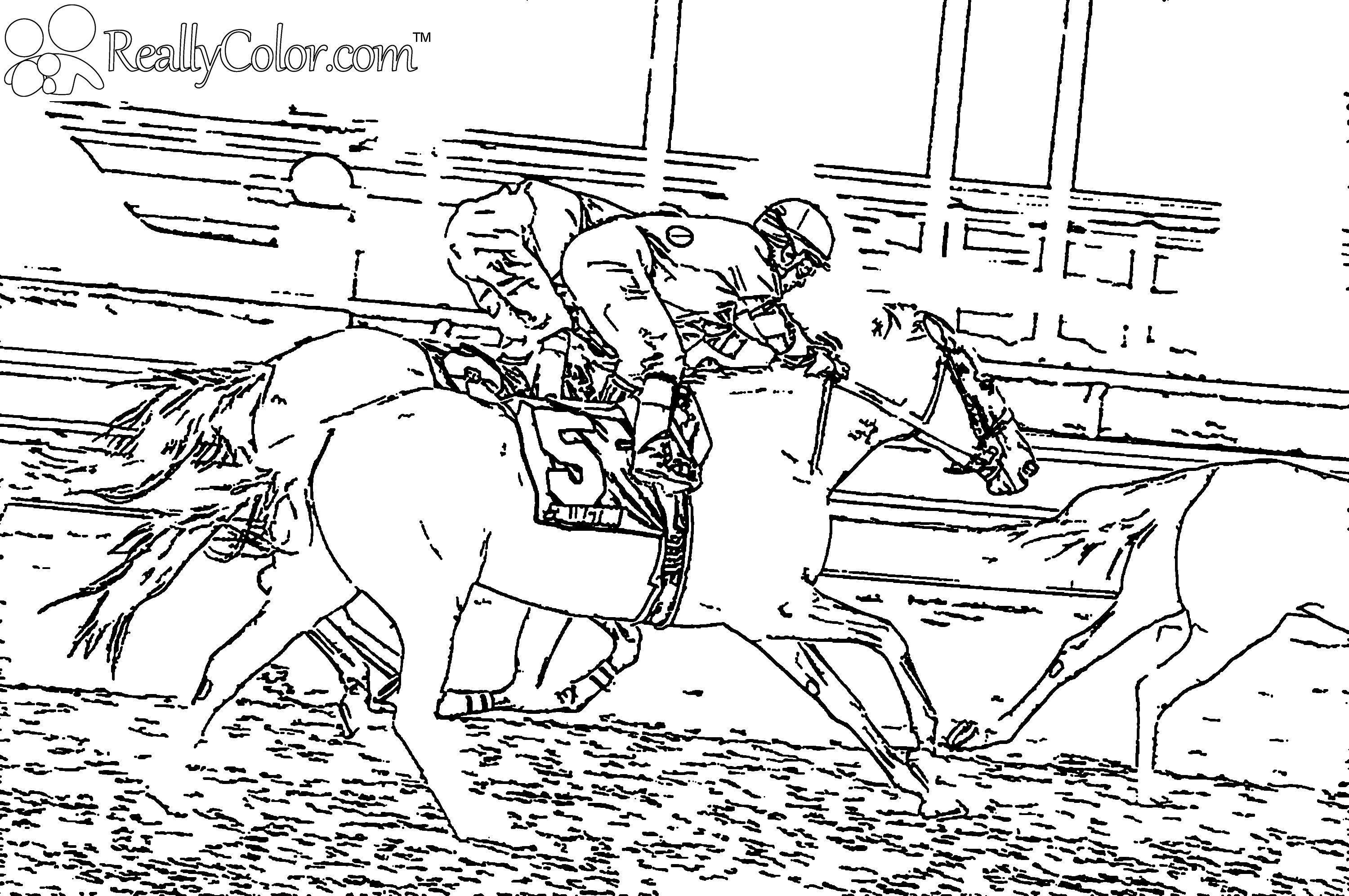 horse racing color pages | Horse Race Coloring Page | Ausmalbilder ...