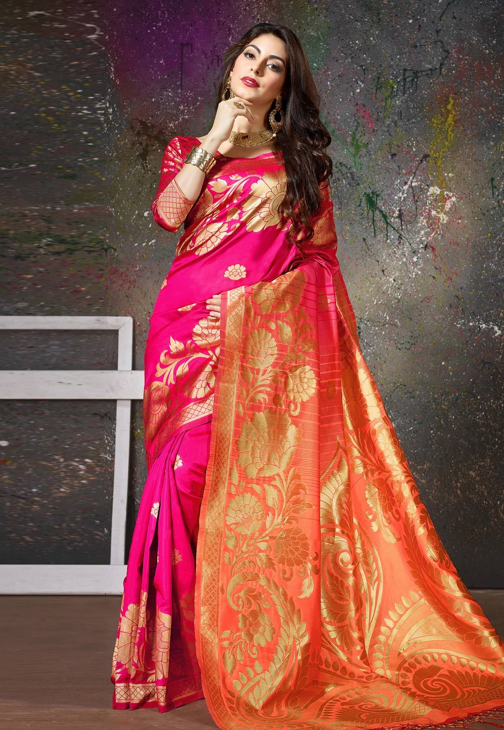 314253e43c Buy Magenta Cotton Saree With Blouse 160920 with blouse online at lowest  price from vast collection of sarees at Indianclothstore.com.