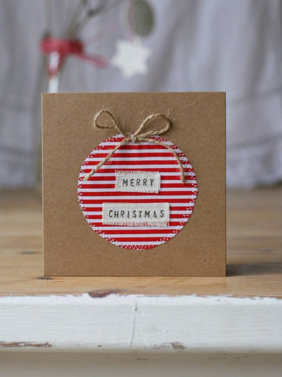 Red White Stripe Fabric Christmas Bauble Card - Recycled Brown Paper Card