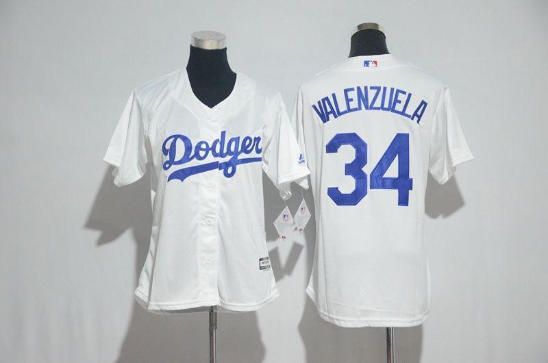 size 40 50bf1 09c3d Womens 2017 MLB Los Angeles Dodgers 34 Valenzuela White ...