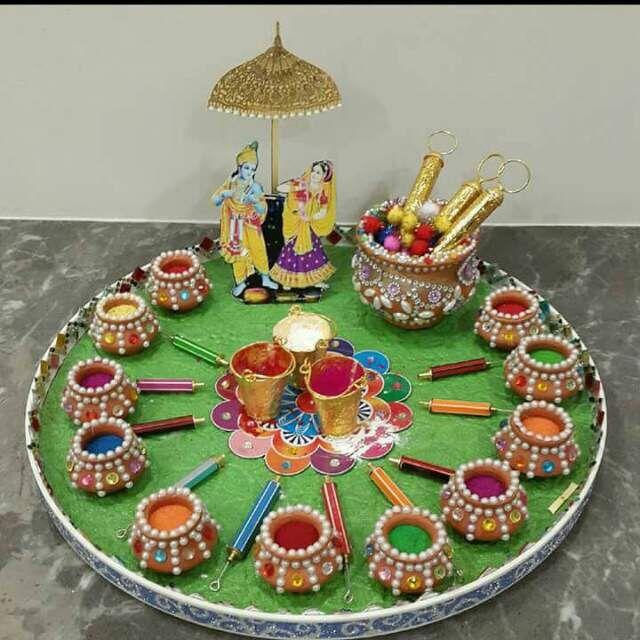 Holi festival packing krishna pinterest holi for Holi decorations at home