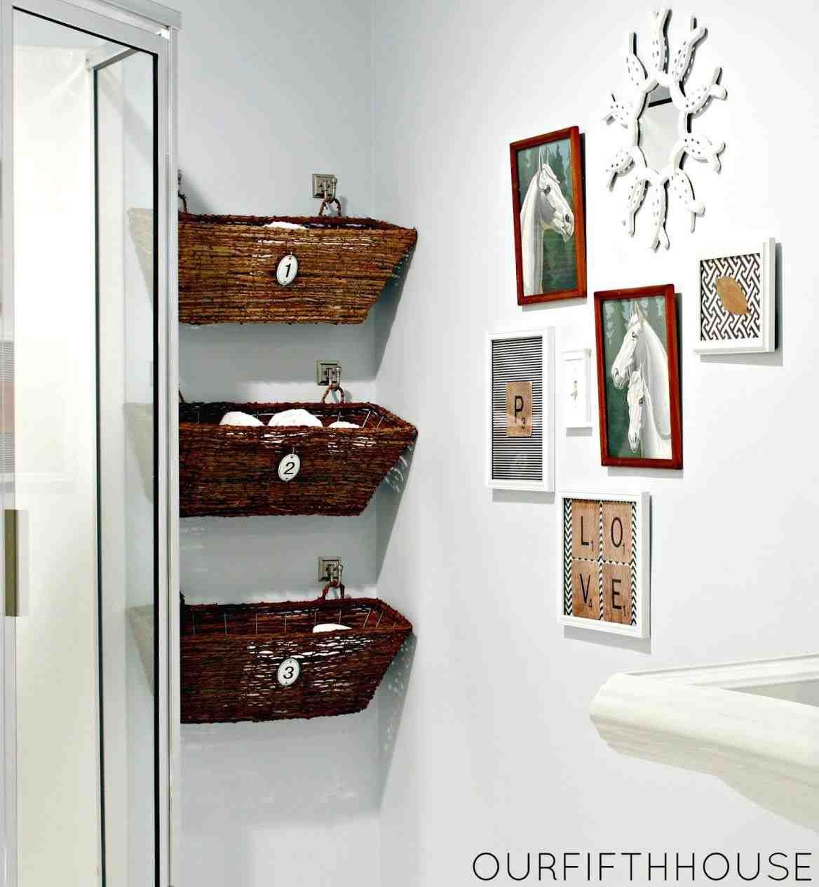 This Bathroom Wall Storage Baskets Ergonomic Wall Mounted