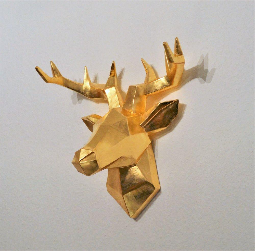 hirschkopf wanddeko vergoldet mit blattmetall geweih hirsch kopf deko dekoobjekt handmade gold vergo wanddekoration schlafzimmer obi