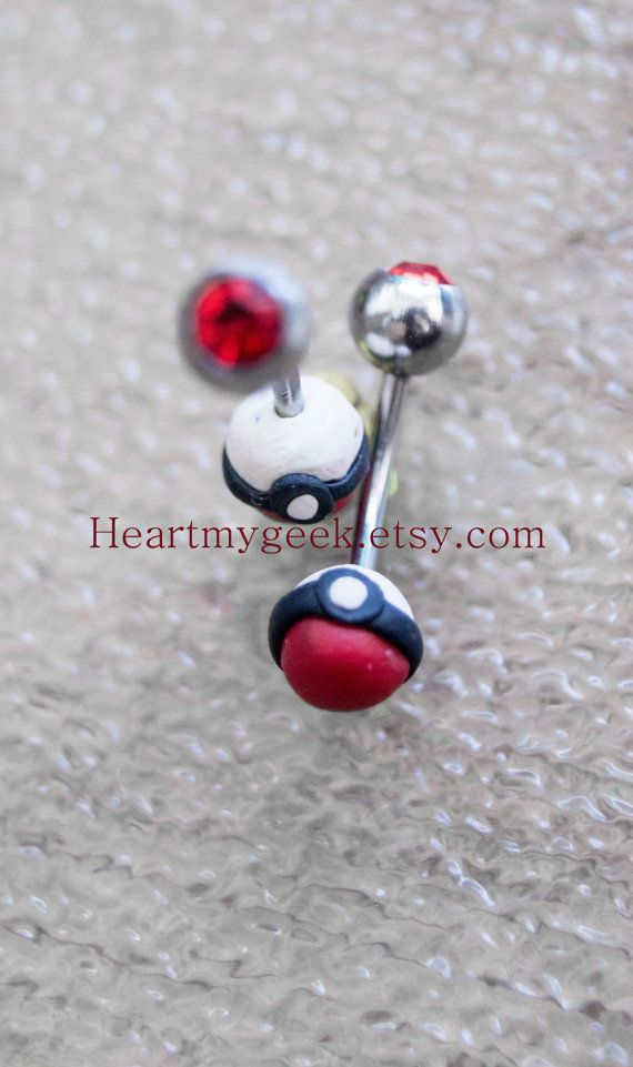 Pokemon Pokeball Belly Ring Sugical Steel 18g 16g By Heartmygeek