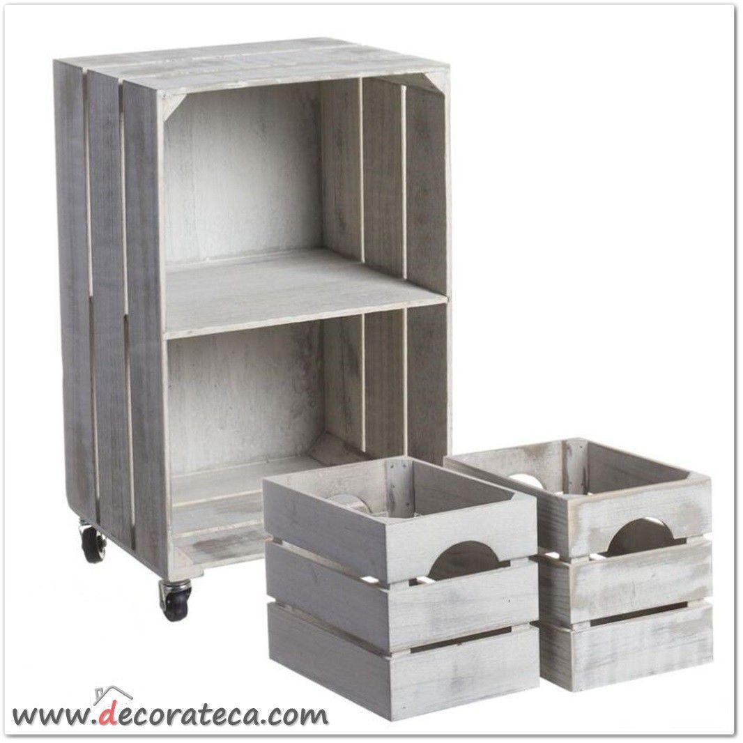 Mesita auxiliar con ruedas 2 cajas de madera blanca - Caja herramientas con ruedas ...