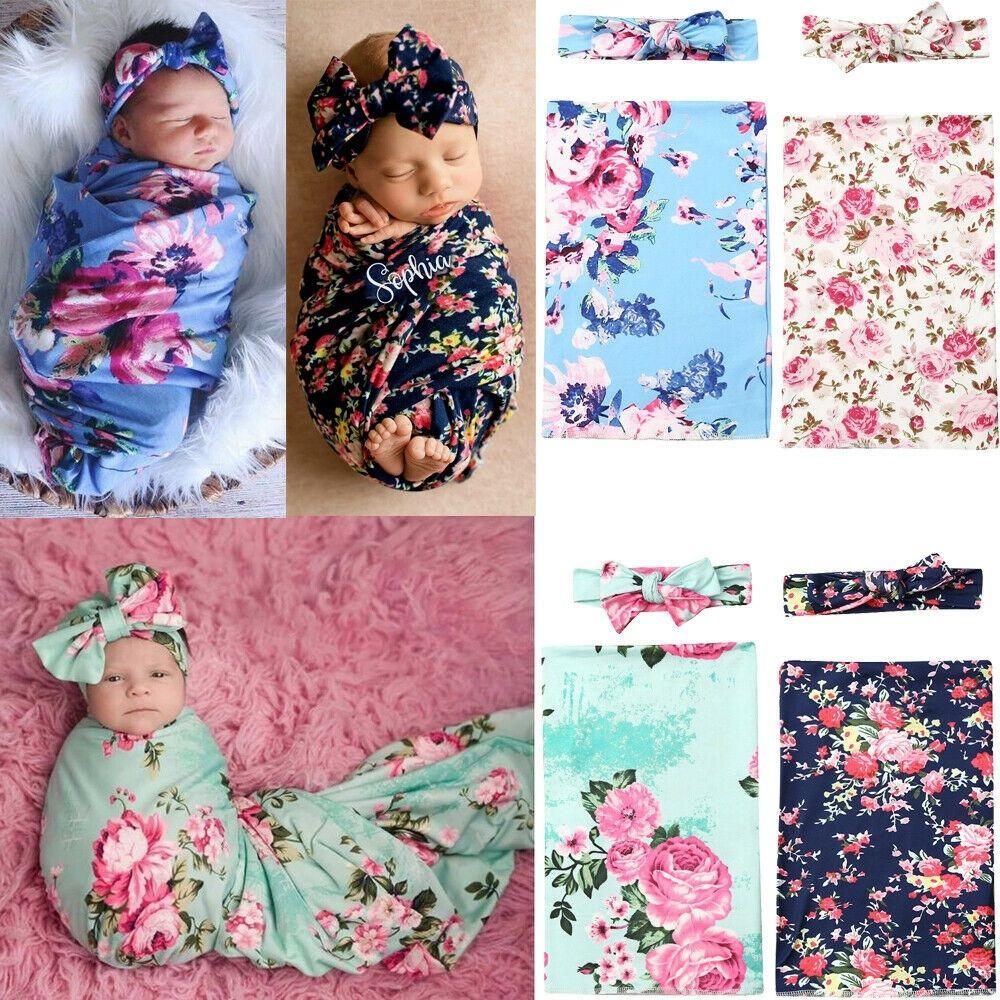 Newborn Baby Floral Swaddle Wrap Swaddling Sleeping Bag ...