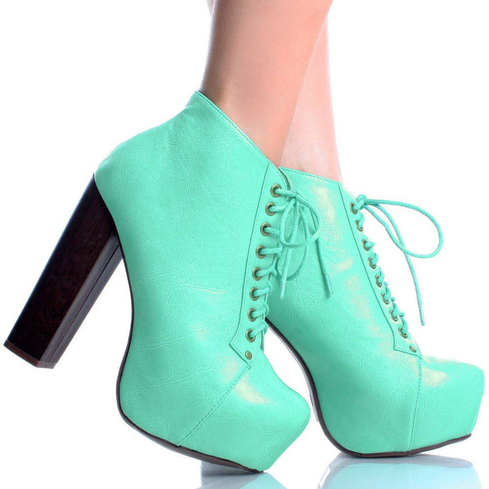 mintgreen lace up faux leather women chunky heel platform