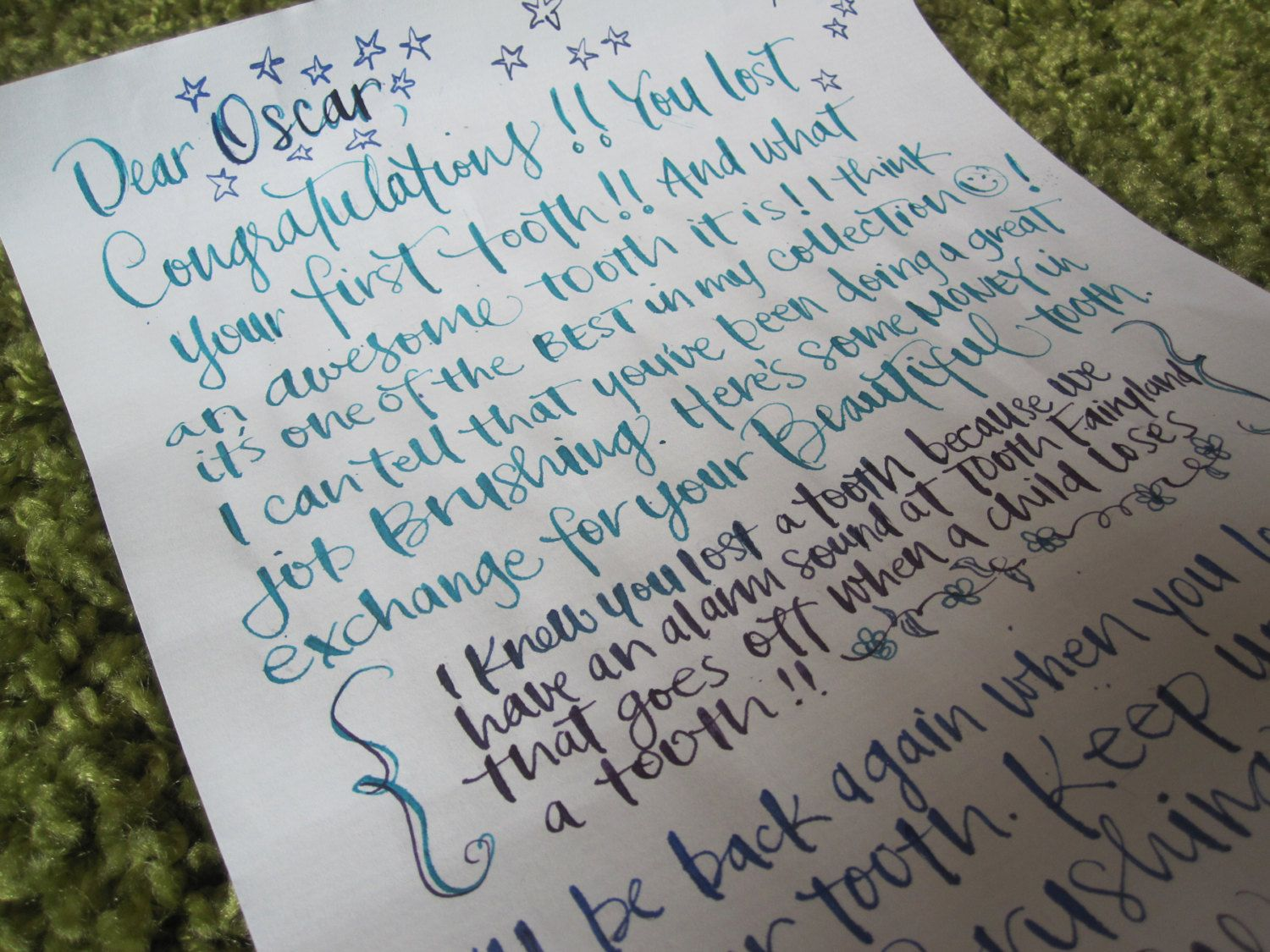 Personalized tooth fairy letter in calligraphy for child 39 s for Fairy letters