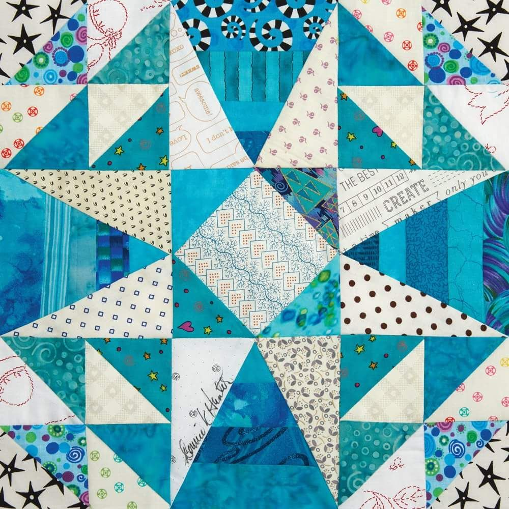 Bonnie Hunter's new block for 100 Quilt Blocks, Vol. Set square, it looks  like storm at sea, but with the added string pieced triangles- yum!