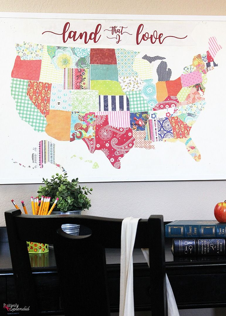 United States Map Mod Podge Bulletin Board A fun upcycle project