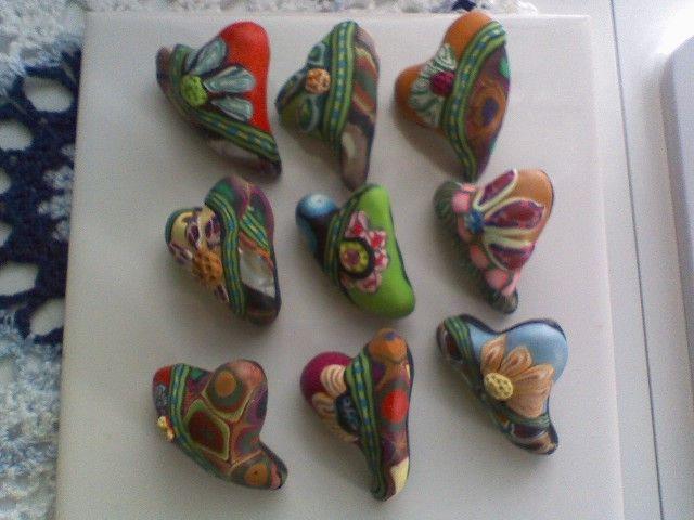 Sculpey Heart Pins