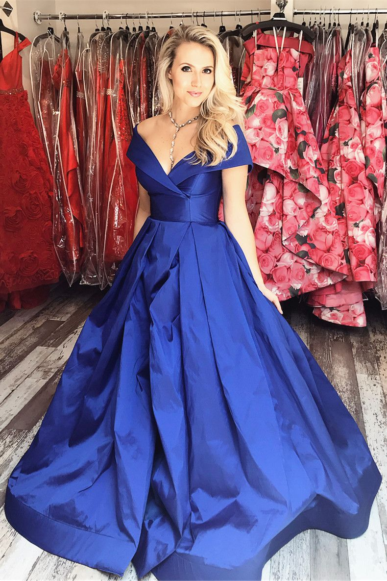 7a21a43996a3 Off the Shoulder Royal Blue Long Prom Dress with Side Slit