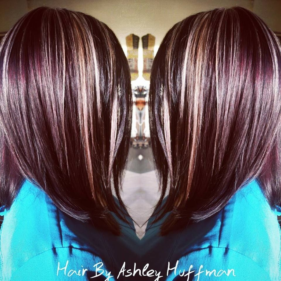 Red Violet Hair Color With Blonde Face Framing Highlights Red
