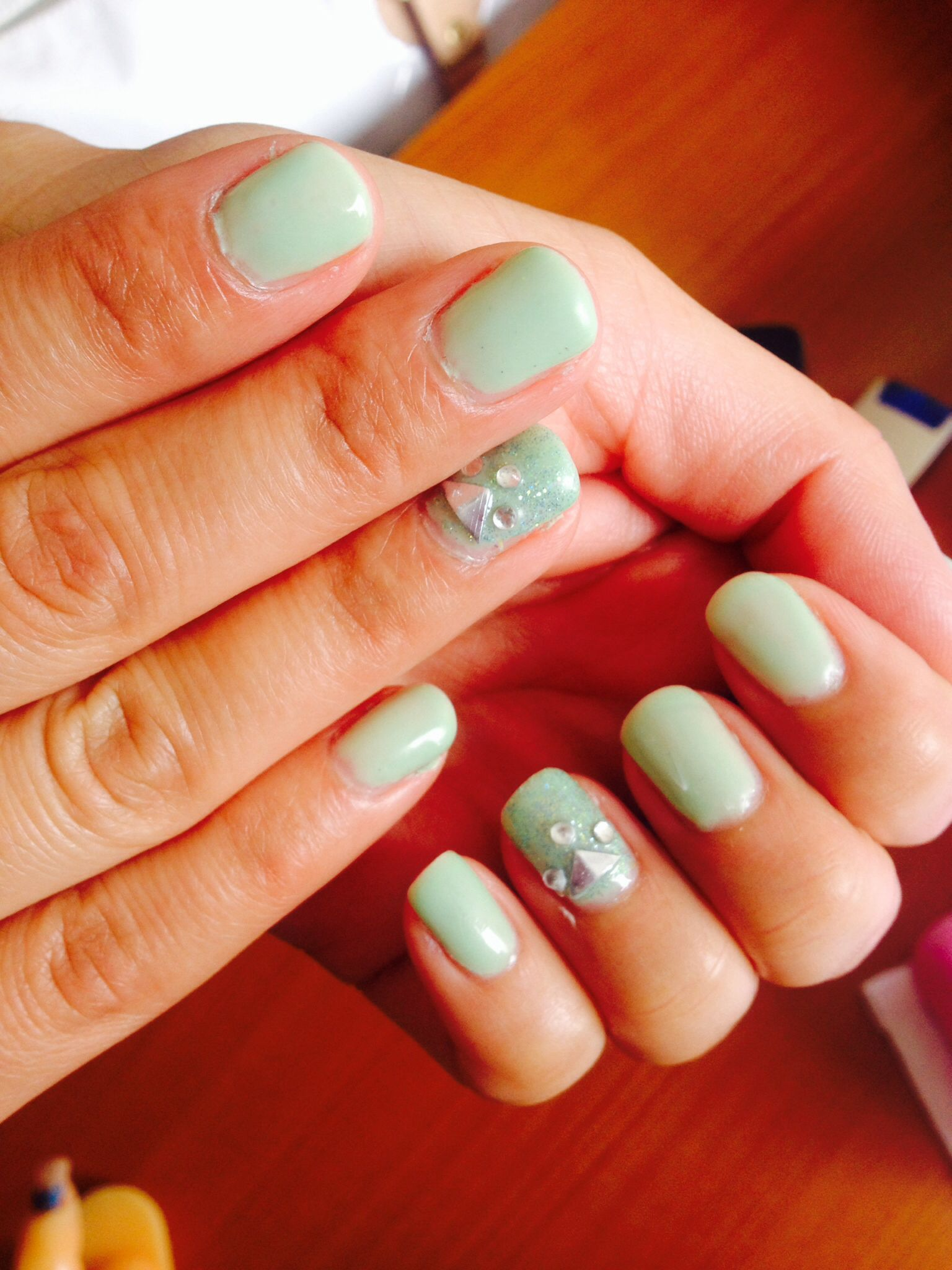 Gelish, nail design, Summer 2014, comfy, fancy, apple green | nails ...