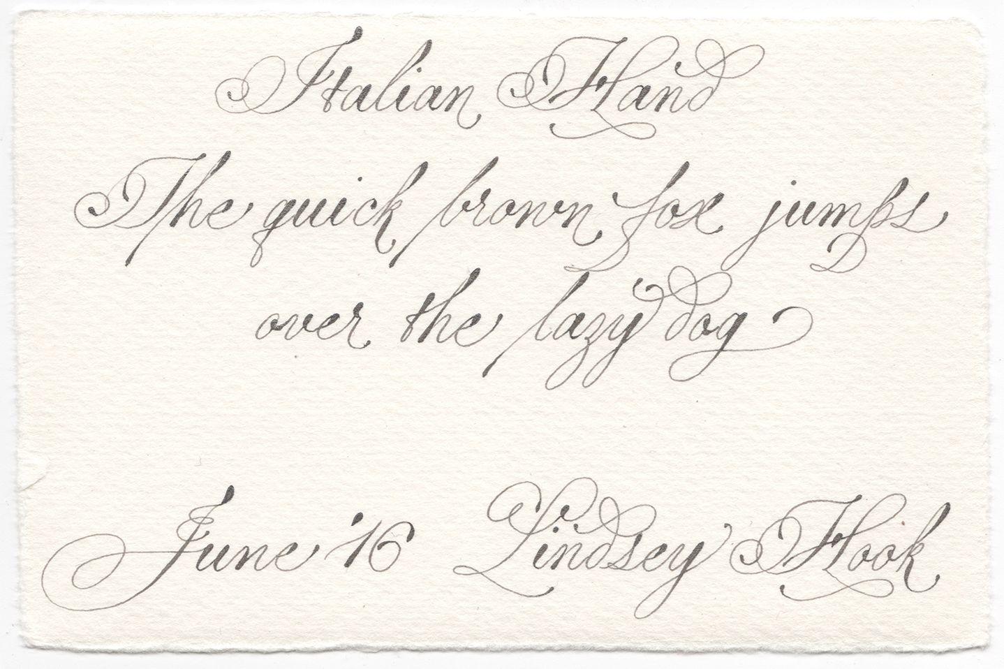 Italian Hand Pangram Calligraphy Pointedpen Italianhand Exemplar Weddingcall