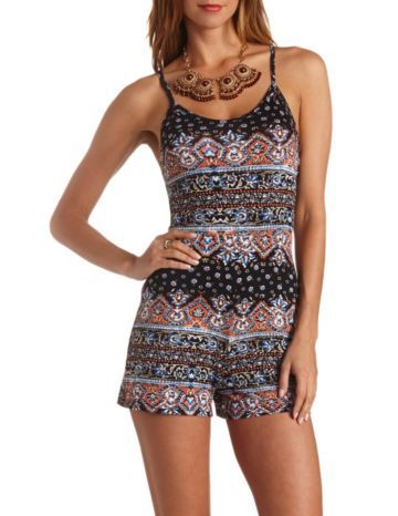 Strappy Back Scarf Print Romper: Charlotte Russe