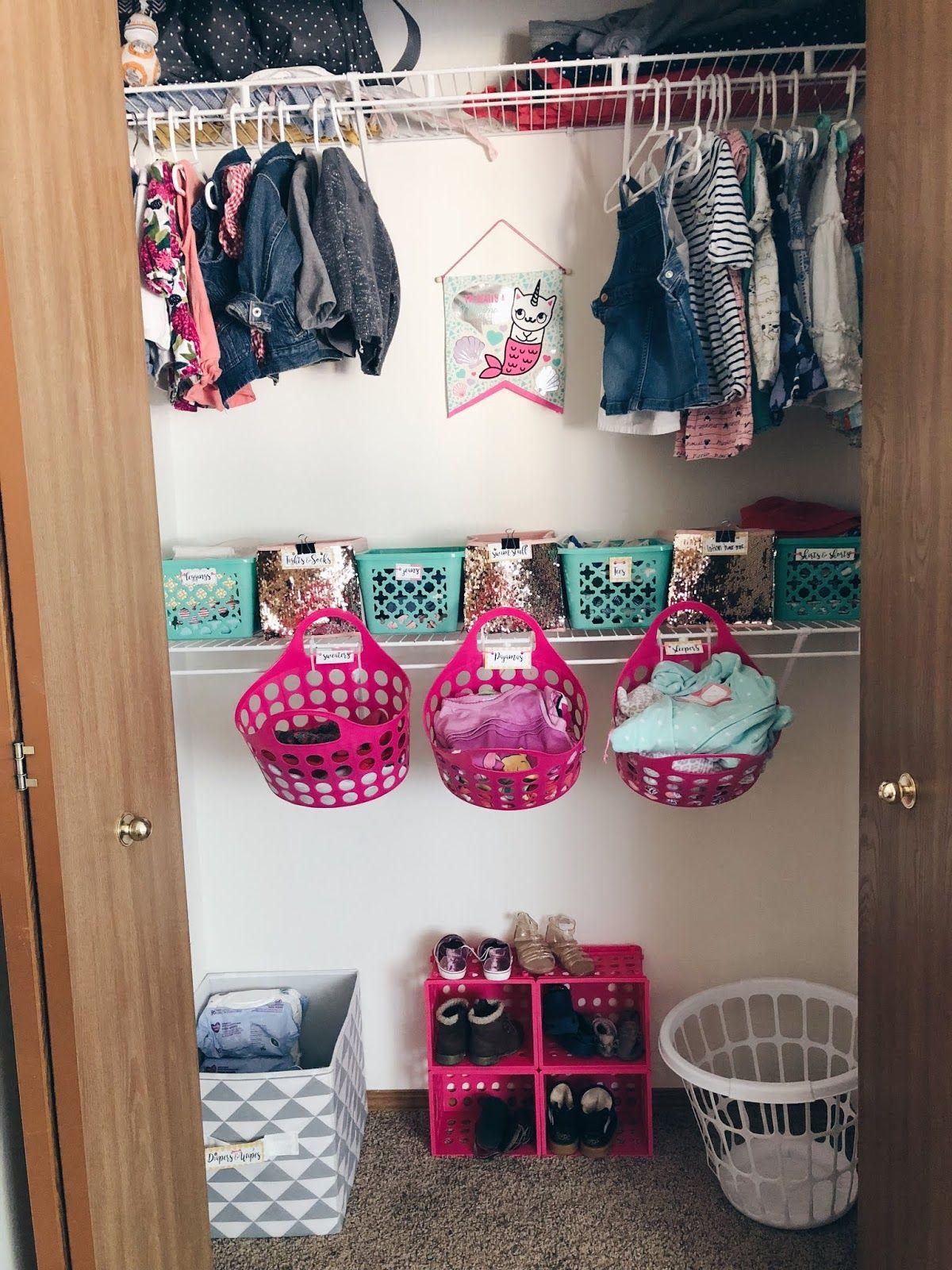 Dollar Tree Toddler Closet Organization / Everyday Memoirs   Toddler Closet Organization, Kids Closet Organization, Organization Bedroom
